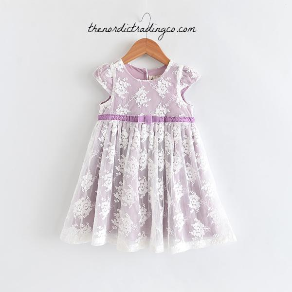 Lavender Fairy Tale Lace Overlay Little Girl's Dress Easter Wedding Flower Girl Thin Velvet Bow Girls Toddler Empire Waist Dresses Spring Clothes Baby Kids Childrens sz 2T - 6