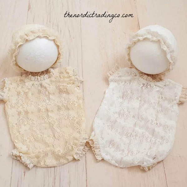 Girls Photo Prop Sets Lace Bodysuit Newborn Hat Pink White Cream Baby Girl Shower Gifts Babies First Photo Shoot Girl's