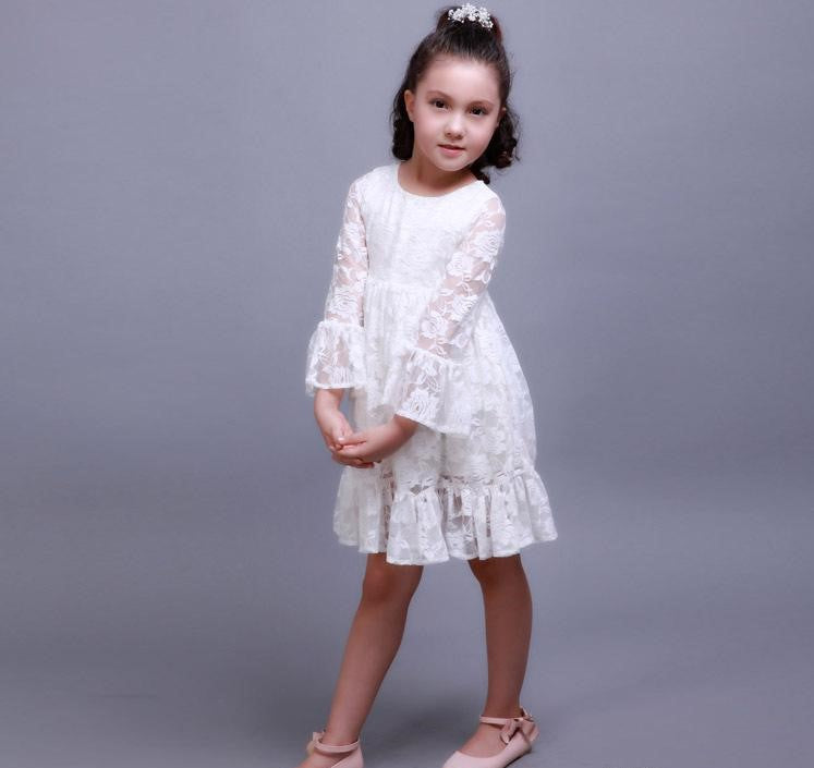 Country Lace Flower Girl Dress Long Sleeve Girls Dresses Sweet Flower Sash Simple Elegance White Cream Wedding Brides Party Clothing