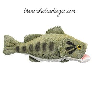 "Soft Cuddly Plush Fish Large Mouth Bass Fishing Wildlife 7"" Boy's Baby Shower Gifts Toys Little Boy Toddler Boy Christmas Birthday"