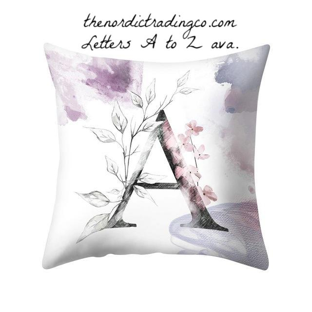 Romantic Lilac Plum Floral Personalized Letter Pillow Cover 18x18 Home Decor Accent Pillows Bed Sofa Nursery Baby Shower Bride Wedding Gifts