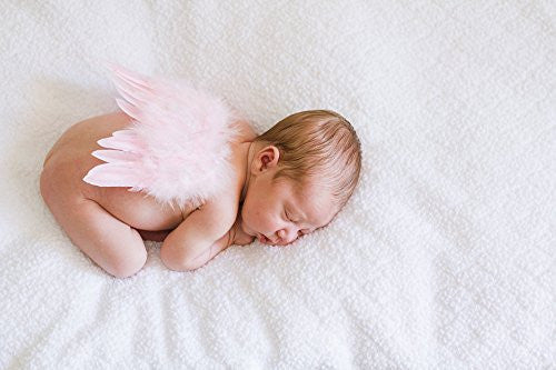 Tiny Natural Blush Pink Angel Wings and Headband Set for Newborn Couture Photo Prop a lovely Heirloom Baby Shower Gift Birth Announcements