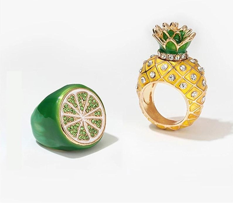 Slice of Lime Statement Womens Ring Lime Green Rhinestones Adorn Top Hip Hop Pop Culture Trendy Fruit Rings Jewelry Jewellery Women Gifts
