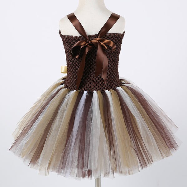 Girls Lion Tamer Tutu Dress Circus Birthday Party Costume Dresses Headband Included Toddler Tween Teens Brown Tutus Circus Animal Outfit Costumes Sets Parties Halloween