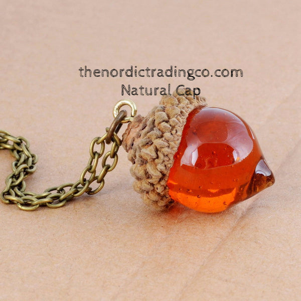 Amber Acorn Translucent Necklace Women's Woodland Jewelry Accessories Fall Winter Natural or Gilded Cap