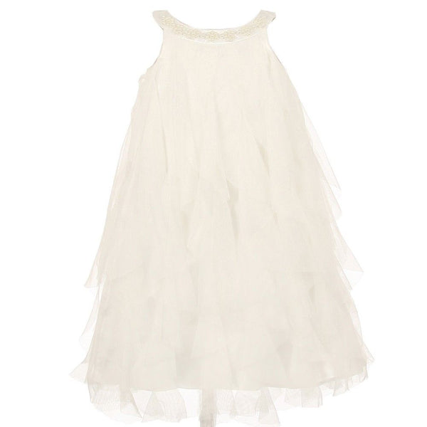 Little Girls Summer Flower Girls Dress White / Ivory Tiered Ruffles Elegant Pearl High Neck Line Sleeveless A-Line 4 Toddler to 12/14 Teen