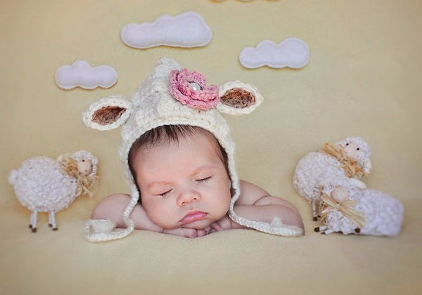 New Baby Girl Lamb Crochet Newborn Hat Babies First Halloween Costume Infant Costumes Mary Had a Little Lamb BaBa Black Sheep Animals Farm Girl's Outerwear Hats