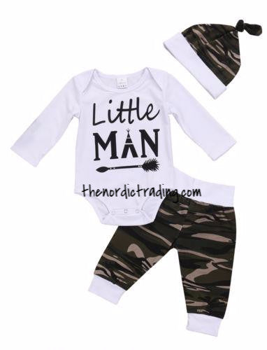 d2f294e0940a New Baby Boy Little Man Camo Outfit Baby Shower Gift Set 3 pc ...