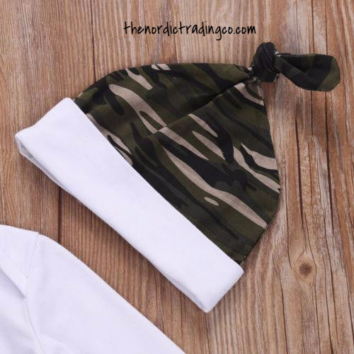 New Baby Boy Little Man Camo Outfit Baby Shower Gift Set 3 pc. Camouflage Theme Pant Hat LS Top Newborn Infant Clothing Gifts Sets & Accessories Boys Set