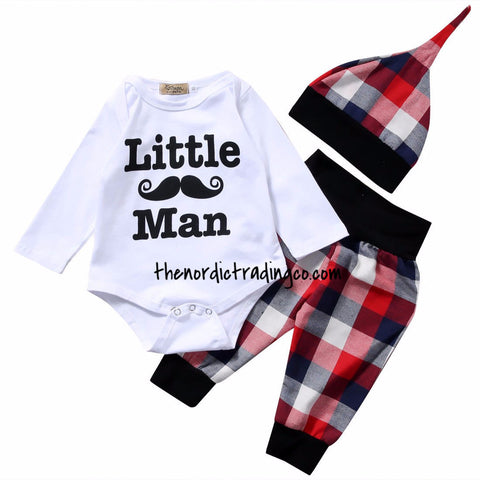 Daddy's New LITTLE MAN SET Handlebar Moustache Lumberjack Plaid 3 pc set Boy's Gift Baby Clothes Baby Shower Gifts Baby Boy