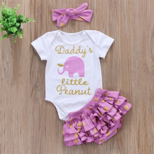 Girl's Little Peanut Outfit Lavender Gold Dots Elephant Onesie Bodysuit Purple Ruffled Bloomer Diaper Cover Headband Newborn Infant Baby Shower Gift Ideas Girl Clothes Girls Sets