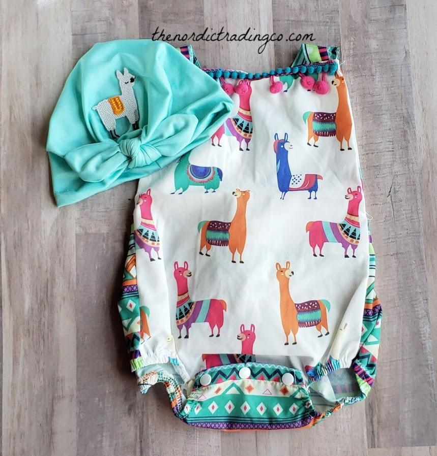 Lovable Llama / Alpaca Romper Sunsuit Girls Llama's Tribal Print Pom Pom Tassels Trim Infant Girl 0/6 6/12 Girls' Baby Shower Gift Ideas Newborn Girls Clothes Gifts