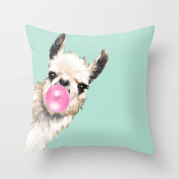Llama Throw Pillow Covers  Bubble Gum Alpaca Llamacorn Unicorn Pastel Colors Totally Adorable Pink Mint 47cm X 47cm Accessories Home Decor Bed Sofa Kids Pillows Gifts