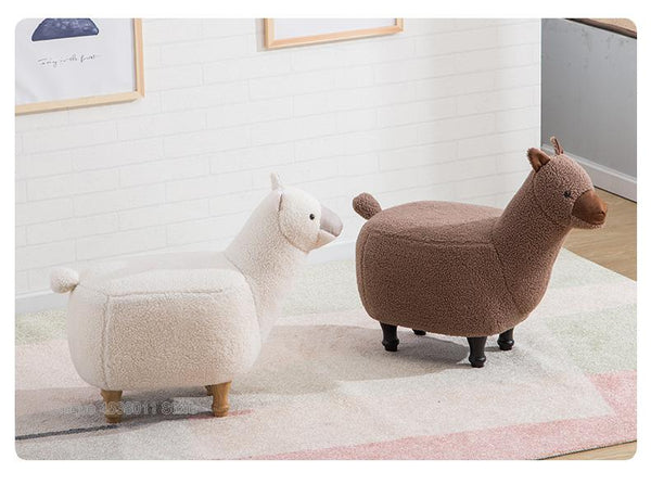 Llama Alpaca Furry Footstool Brown Off White Bench Stool Home Interior Design Decor Nursery Bedroom Family Nordic Trending Accent Furniture
