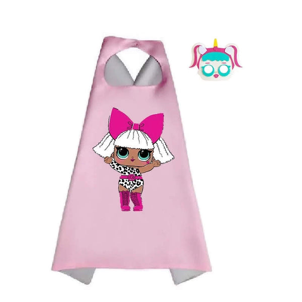 Girl's LOL Birthday Surprise Halloween Costume Dress Up Capes Plus Necklace Girl Costumes Party Capes Gift