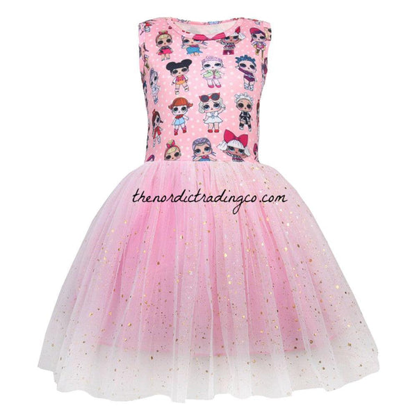 LOL Dolls Girl's Dress Gold Flocked Tulle Skirt L.O.L Characters Sleeveless Bodice Little Girl Toddler Dresses Surprise Birthday Party Kids Clothes