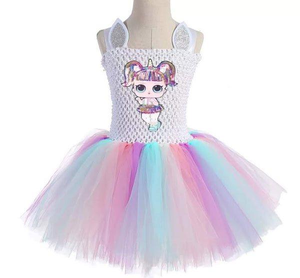 Birthday Tutu Dress Surprise Doll Unicorn LOL Dresses or Confetti Queen Gowns Girls Childrens Kids Boutique Party Girl's Costumes + Bows / Headbands Unicorns Halloween Outfits