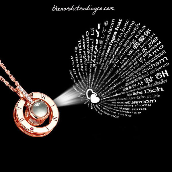 Love is Love In Every Language 100 Languages Nanotechnology Projection Pendant Sterling Silver or 14 kt Gold Plated Womens Necklace Top Christmas Gift Women Jewelry Accessories Gifts Her Woman