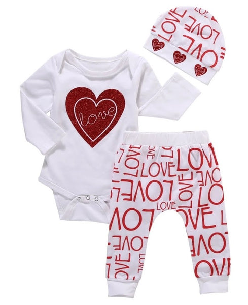 LOVE 3 pc Girls Gift Set Red Glitter Heart Onesie Bodysuit Romper LS Pants Beanie Hat Baby Girl's Shower Gift Ideas 0/6 mo Newborn Infant Kids Clothes