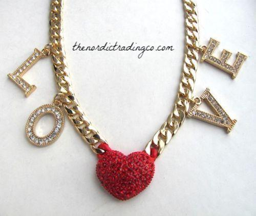 LOVE Bold Gold Tone Crystal Heart & Letters Statement Necklace Gold Tone Cuban Chain Women's Necklace Jewelry Gift Ideas Valentine Anniversary Pendants Women