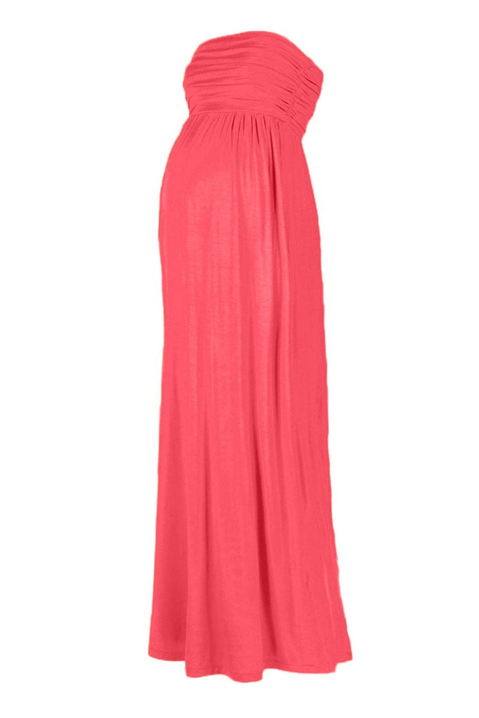 Mom To Be Baby Bump Picture Maternity Maxi Dress Solid Front Coral Pregnant Pregnancy Photo Gown One Size Ships From USA