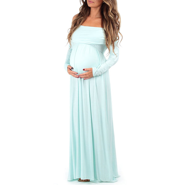 Mom to Be Baby Bump Pregnancy Portrait Dress / Maternity Photo Prop Closed Front Aqua Blue Baby Shower Gift
