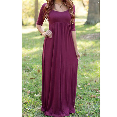 36c682e179 Mommy to Be Maternity Photo Prop Floor Length Maxi Dress   Gown Closed  Front Maroon