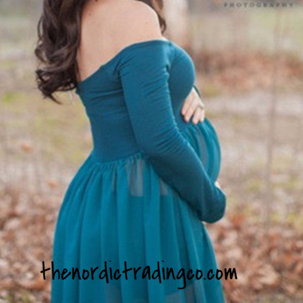 Maternity Dress Baby Bump Pregnancy Photo Prop Long Sleeve Split Front Gown One Size Ships
