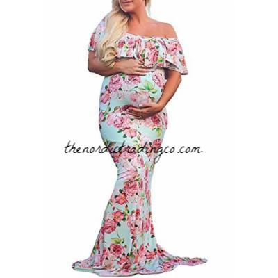 Mommy to Be Baby Bump Pregnancy Portrait Dress / Maternity Photo Prop Gown lg xl plus Cream Pink Dusty Rose Baby Shower Gift Expecting Moms