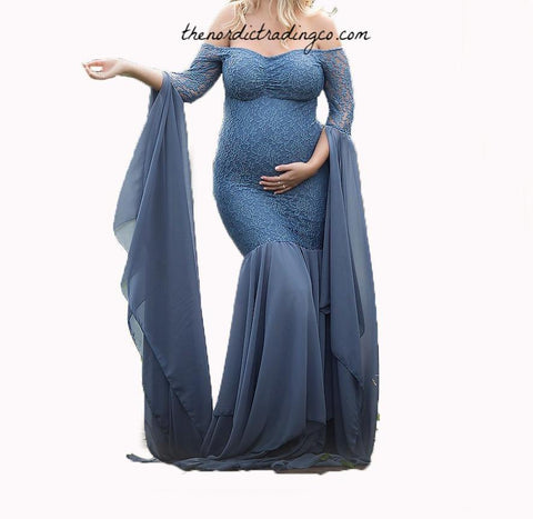 9828448458 Maternity Photo Shoot Dress Pregnancy Photography Prop Dresses Dusty Blue  Vintage Lace Custom Gowns Women s Mommy