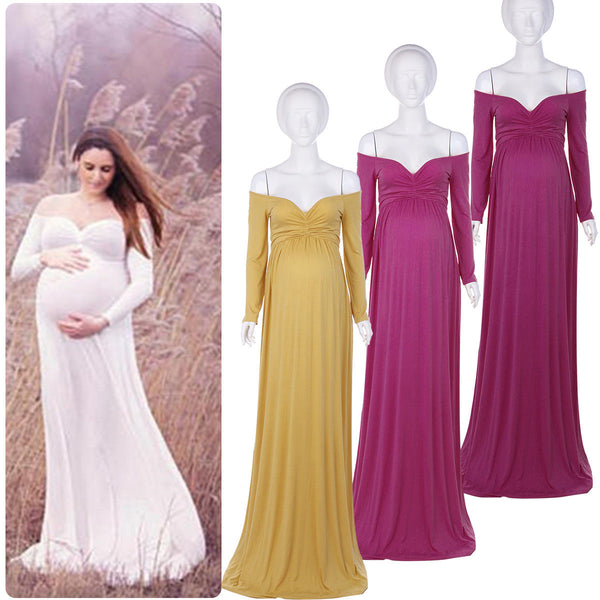 Maternity Gowns Photo Prop Maxi Dress Gifts for Mommy to Be Cotton Jersey Gown X Long Hem Open Front Off Shoulder Sleeves Baby Bump Pregnant Clothing Gold Mustard Golden Yellow L/XL