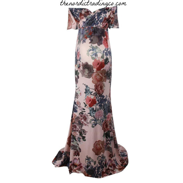 Vintage Floral Maternity Photo Prop Photography Shoot Specialty Gown Dress Pregnant Props Dresses Professional Baby Bump Gowns SZ M L USA Womens