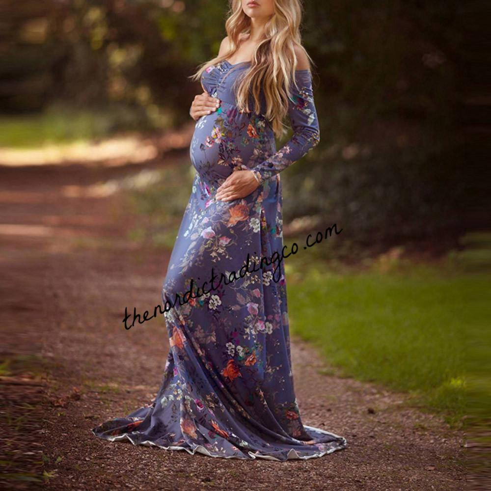 Maternity Gown Photo Shoot Dress Purple Floral Photography Prop ...