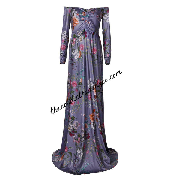 Maternity Gown Photo Shoot Dress Purple Floral Photography Prop Flower Maxi Dresses Picture Props Off Shoulder S M L XL Baby Bump