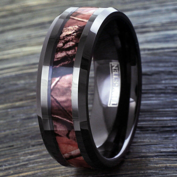 Private order for Amanda Pageau Custom Camo Wedding Ring Set Chocolate Bridal Set Womens Size 8 3 Ring Set / Mens Tungsten Carbide Camo Inlay Wedding Band size 8