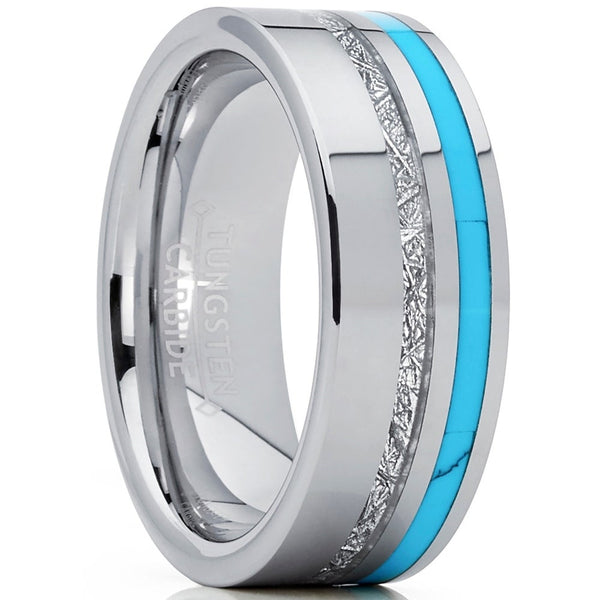 Mens Tungsten Carbide Wedding Ring / Band Created Turquoise & Meteorite Silver Wedding Rings Gifts Dad Grad Husband 8 - 12 sizes