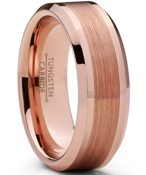 Mens Rose Gold Wedding Ring Brushed Center Anillo de bodas hombre