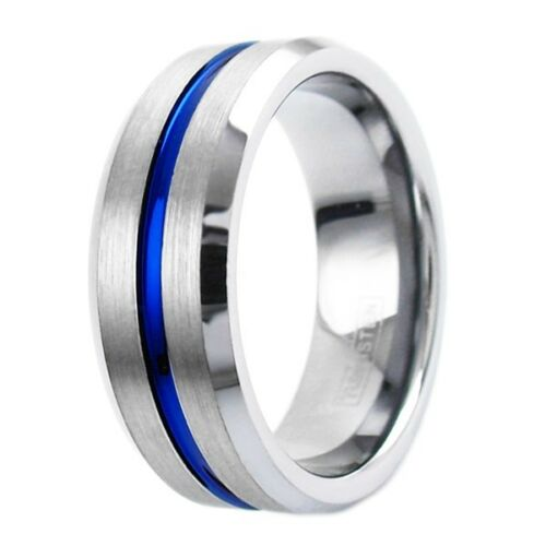 Silver Thin Blue Line Men's Tribute Ring Police Officer Sheriff Corrections State Trooper Tungsten Carbide Engravable Wedding Band Father's Day Gift Jewelry Him