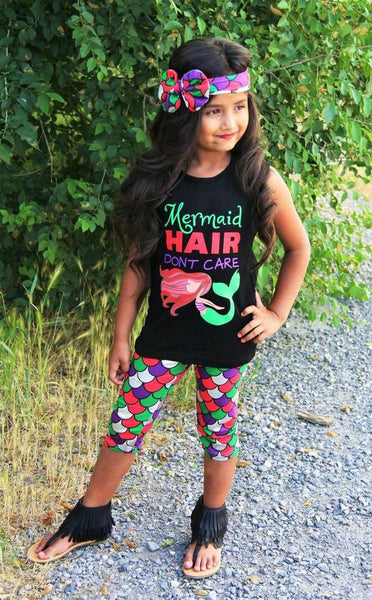 Mermaid Hair Don't Care Little Girls Toddlers 3 pc Boutique Set Trending Clothing Clothes sz 2-6 Sleeveless Top Shorts Headband