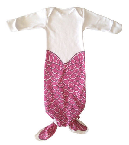 Little Baby Mermaid Sleeping Gown Newborn Size Mermaid's Tale Purple Shells Baby Shower Gift Ideas Girl's