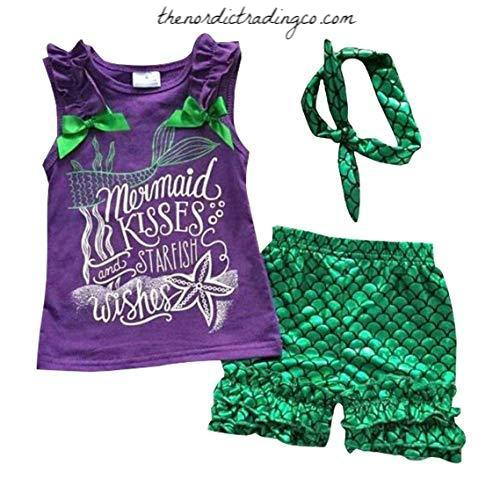 Mermaid Kisses Starfish Wishes Girls Outfit Mermaid's Ruffle Shorts Purple Tank Top Head Wrap Toddler Girl's Set Great Gift Kids Clothes