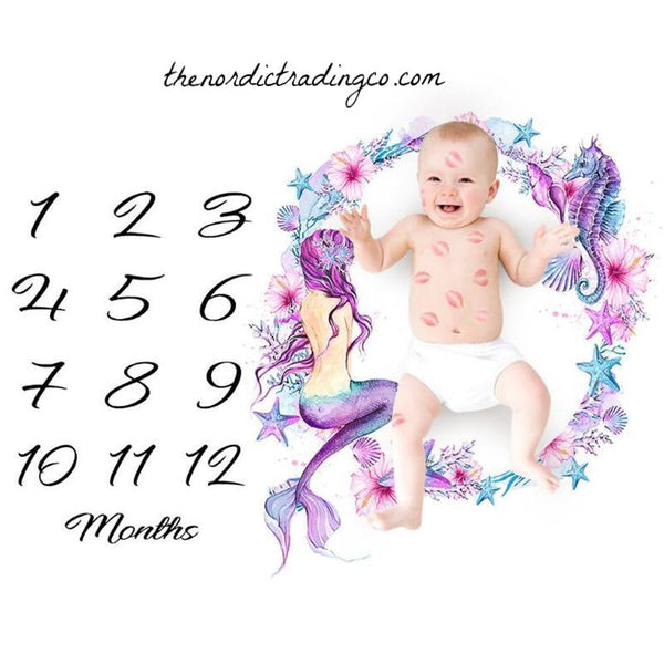 Mermaid Girls Milestone Memory Photo Prop Girl's / Boys Photography Blanket Baby Shower Gifts Babies First Year 1st