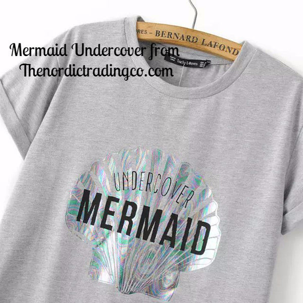 Mermaid Undercover Junior's T Shirt Top Holographic Sea Shell Print Short Sleeve Women's Tops Clothing & Tee Shirt Mermaids
