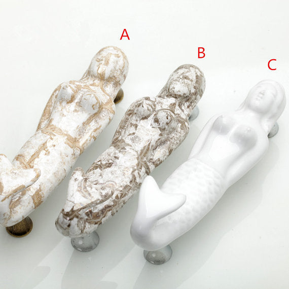 Ceramic Mermaid Drawer Pulls DIY Home Improvement Distressed Mermaids Coastal Decoration Projects