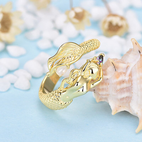 Mermaid Ring Womens Rings Fine Jewelry Gorgeous Gift Gold Tiny Pearl Long Golden Hair Lavish Tail Promise Engagement Wedding Fashion Rings Adjustable Size