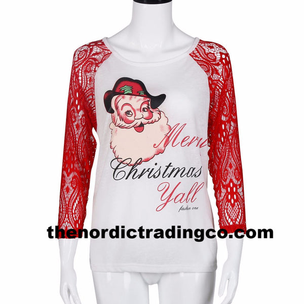 Merry Christmas Y'all Women's Baseball Style Top Red Lace 3/4 Sleeve M L XL Santa Claus Holiday T- Shirt Clothing Apparel Casual