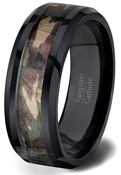 Military Men's Wedding Rings Camo Black Tungsten Carbide Groom's Band Mens Wedding Ring Jewelry Men sz 7.5 - 13 Camouflage Gift Gifts Army Navy Air Force Marines