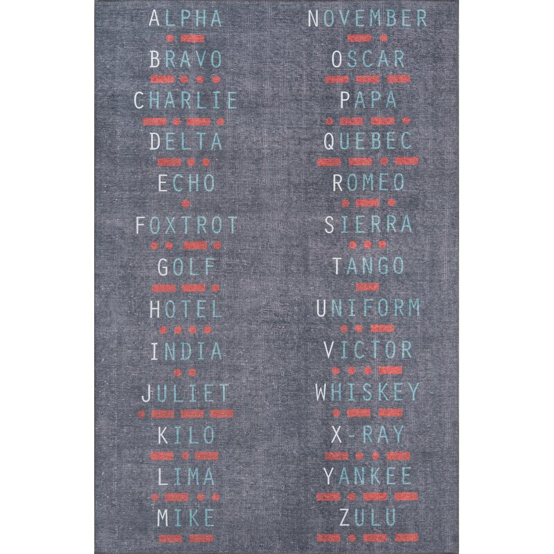 Vintage Military Morse Code Call Signs Area Rugs Charcoal Home Decor Boy Nursery Bedroom Playrooms Boys Toddler Dorm Kids Childrens Rooms Codes USA