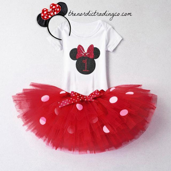 Minnie Mouse Chic Boutique Birthday Tutu & Top First Birthday Party Photo Prop One Outfit Girl's Sets Skirt Romper Ears Headband 12/18mo Cake Smash Day