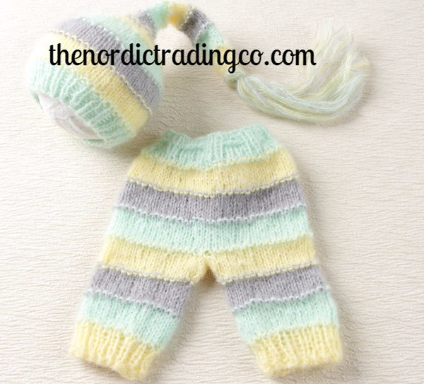 Infant Handmade Crochet Super Soft Mohair 2 pc Set Mint Yellow Gray Hat & Pants 0 - 3mo. Baby Shower Gifts Outfit Elf Hat Tassels Infant Boy Girl